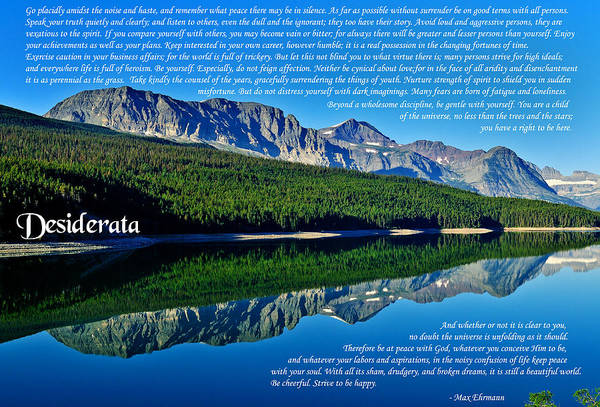Photograph - The Desiderata And Lake Sherburne by Greg Norrell