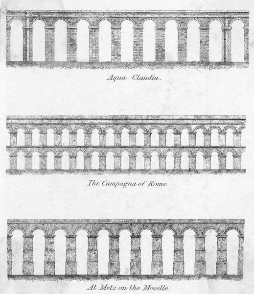 Aqua Drawing - The Designs Of Three Aquaducts   - Aqua by Mary Evans Picture Library