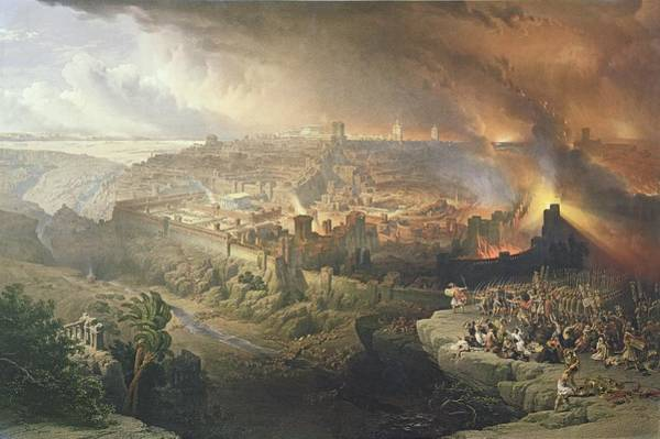 Ancient Drawing - The Destruction Of Jerusalem In 70 Ad by David Roberts