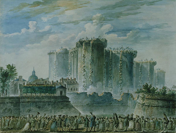 Wall Art - Photograph - The Destruction Of The Bastille, 14th July 1789 Wc & Gouache On Paper by Jean-Pierre Houel