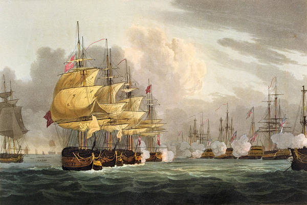 Wall Art - Drawing - The Destruction Of The Danish Fleet by Thomas Whitcombe