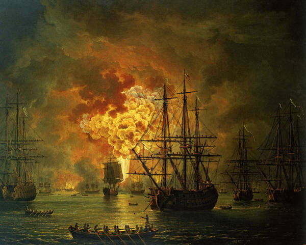 Galleons Wall Art - Painting - The Destruction Of The Turkish Fleet At The Bay Of Chesma by Jacob Philippe Hackert