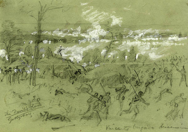 Wall Art - Drawing - The Devils Den Gettysburg, Drawing, 1862-1865 by Quint Lox