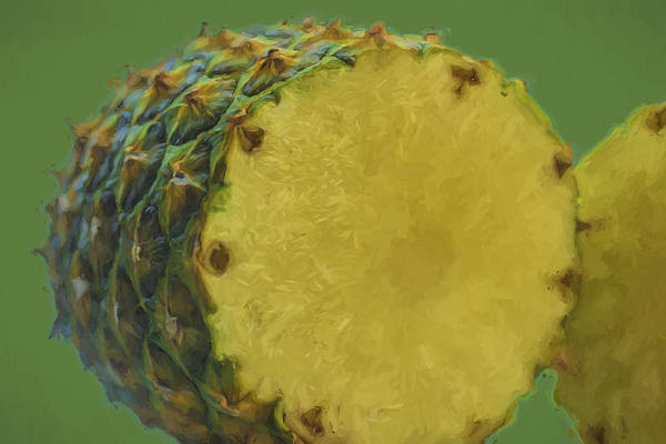 Photograph - The Digitally Painted Cut Open Pineapple by David Haskett II