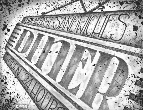Wall Art - Drawing - The Diner by Adam Zebediah Joseph