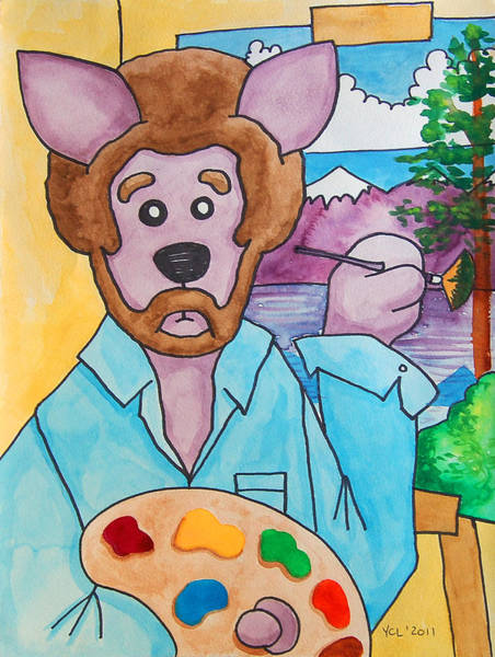 Happy Little Trees Painting - The Dingo Starring As Bob Ross by Yvonne Lozano