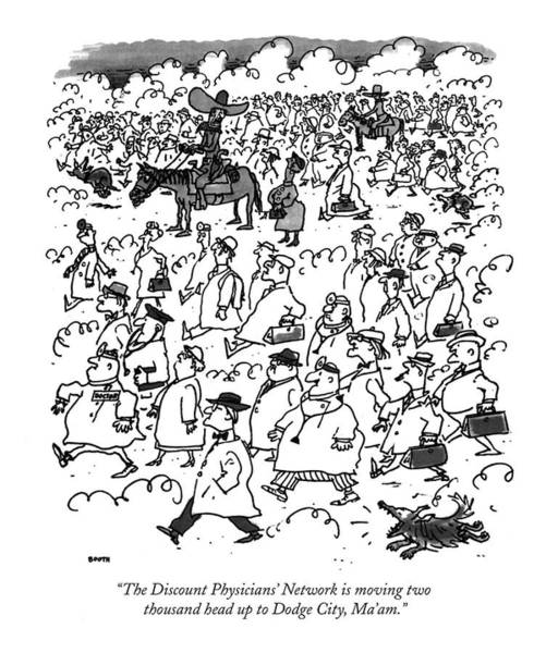 Herd Drawing - The Discount Physicians' Network Is Moving Two by George Booth
