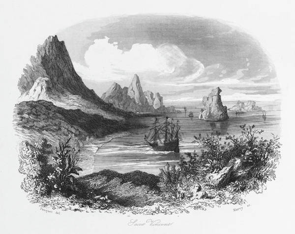 Point Vicente Wall Art - Drawing - The Discovery By The Portuguese by Mary Evans Picture Library