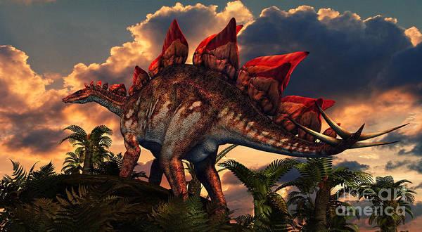 Mound Digital Art - The Distinctive Shape Of Stegosaurus by Philip Brownlow