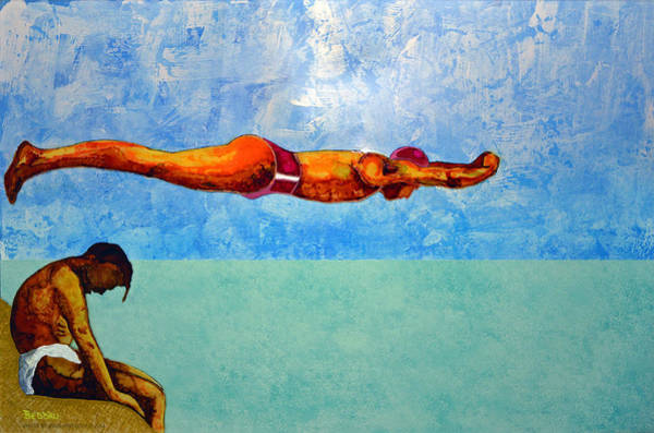 Plexiglass Painting - The Diver by Beddru G-bellia