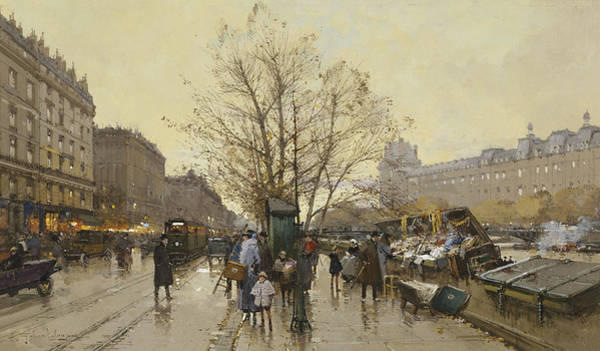 Trader Painting - The Docks Of Paris Les Quais A Paris by Eugene Galien-Laloue
