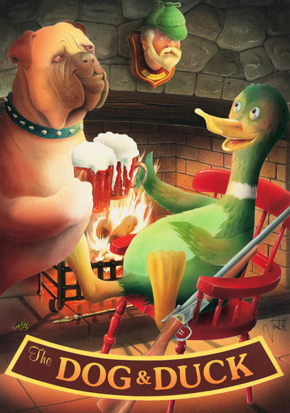 Tavern Painting - The Dog & Duck by MGL Meiklejohn Graphics Licensing