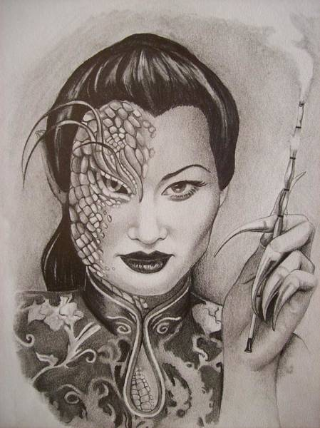 Amber Drawing - The Dragon Lady by Amber Stanford