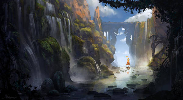 Animation Wall Art - Painting - The Dragon Land by Kristina Vardazaryan