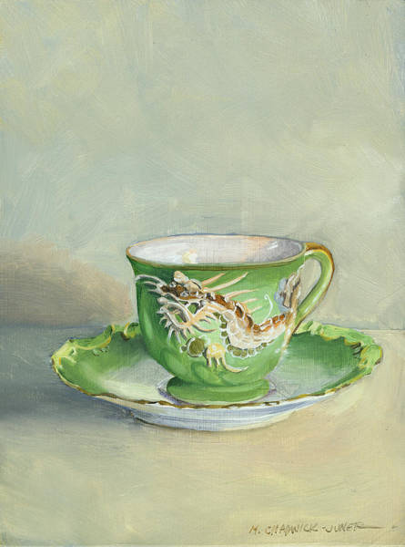 Bone Painting - The Dragon Teacup by Marguerite Chadwick-Juner