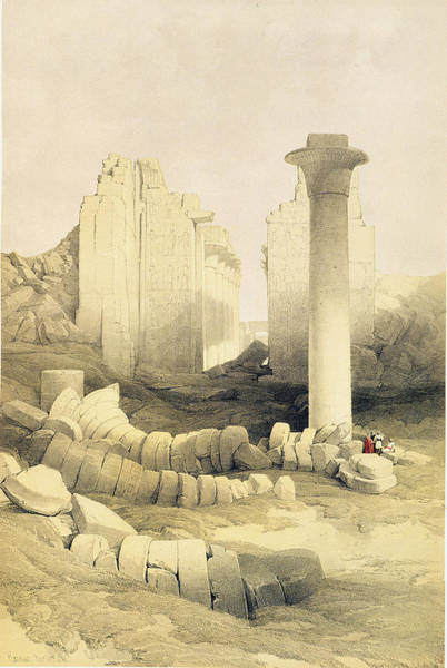 Columns Drawing - The Dromos Or Central Hall Of The Great by David Roberts