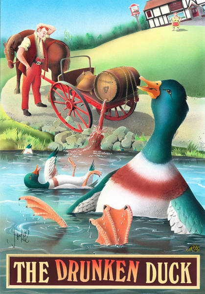 Tavern Painting - The Drunken Duck by MGL Meiklejohn Graphics Licensing