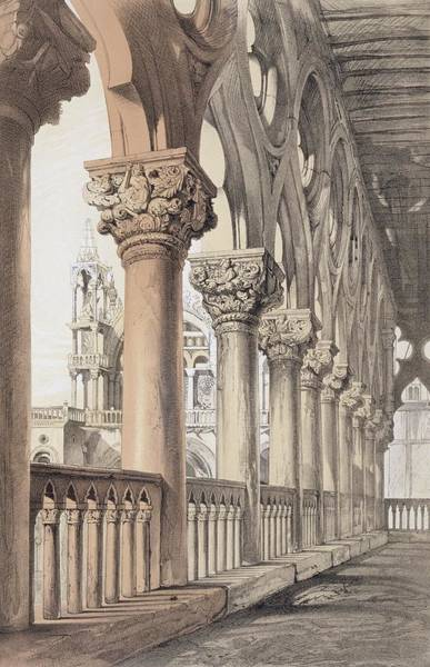 Columns Drawing - The Ducal Palace, Renaissance Capitals by John Ruskin