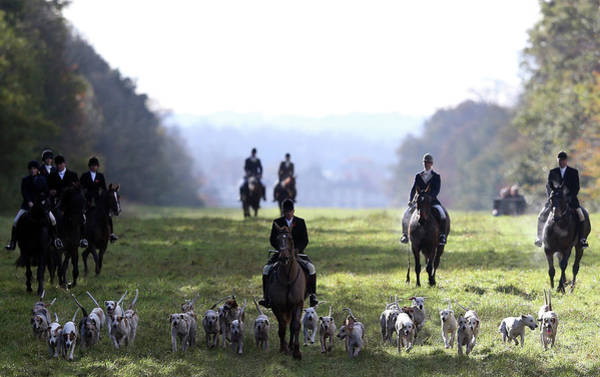 Arrival Photograph - The Duke Of Beauforts Hunt Holds The by Matt Cardy