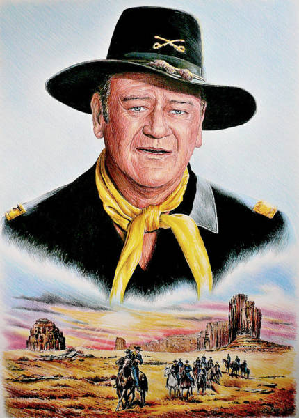 Coloured Pencil Drawing - The Duke U.s.cavalry by Andrew Read