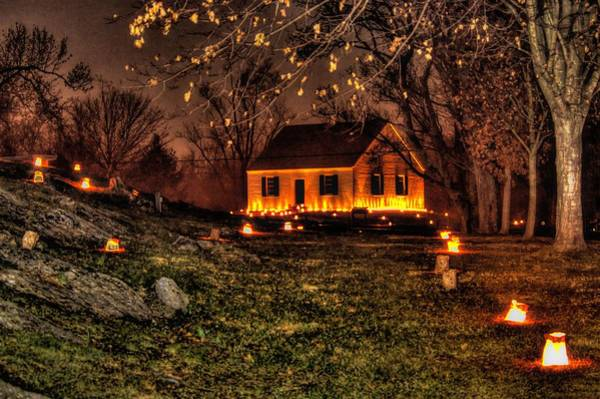 Dunkard Wall Art - Photograph - The Dunker Church 'n Flames-a1 - Antietam National Battlefield Memorial Illumination by Michael Mazaika