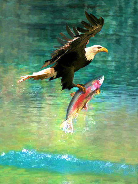 Digital Art - The Eagle And The Fish by Rick Wicker
