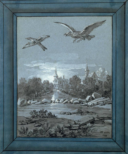 Magpies Drawing - The Eagle And The Magpie Jean-baptiste Oudry by Litz Collection