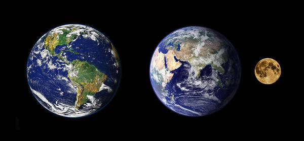 Photograph - The Earth And The Moon by Celestial Images