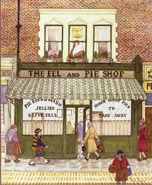 Eels Photograph - The Eel And Pie Shop, 1989 Watercolour On Paper by Gillian Lawson