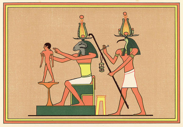 Wall Art - Drawing - The Egyptian Ram-god Khnum by Mary Evans Picture Library