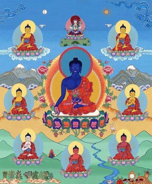 Thangka Painting - The Eight Medicine Buddhas Thangka by Ies Walker