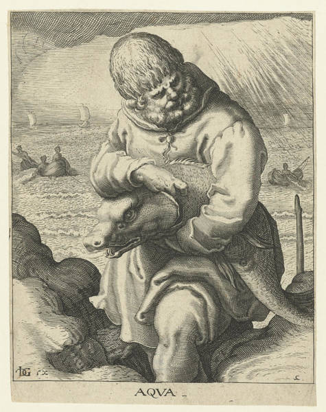 Aqua Drawing - The Element Of Water, Jacob De Gheyn II by Jacob De Gheyn (ii)
