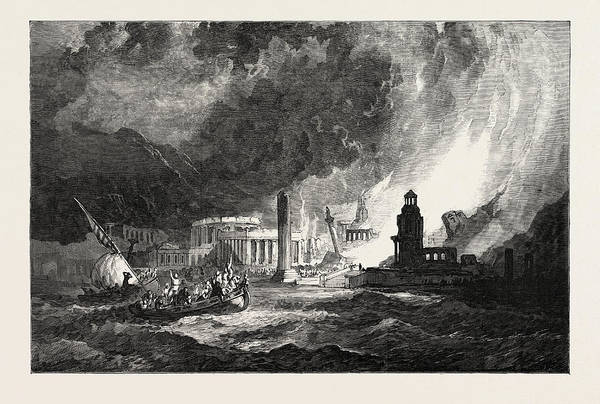 The Elements A Magnificent City Has Its Superb Temples Art Print by Stanfield, Clarkson Frederick (1793-1867), English