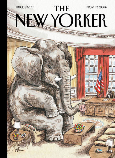 2014 Painting - The Elephant In The Room by Ricardo Liniers