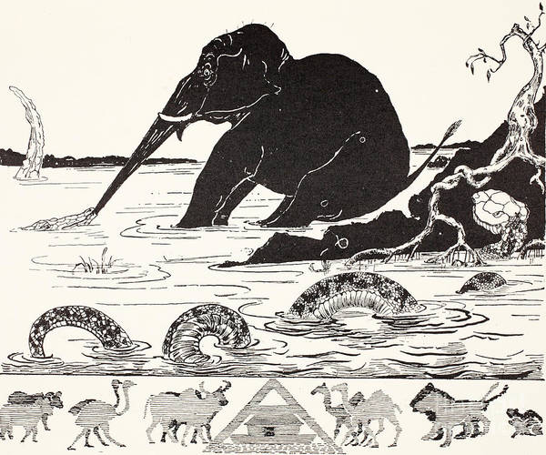 Wall Art - Drawing - The Elephant's Child Having His Nose Pulled By The Crocodile by Joseph Rudyard Kipling