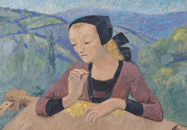 Embroidery Painting - The Embroideress by Paul Serusier