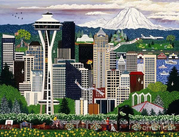 Mount Rainier Painting - The Emerald City Seattle by Jennifer Lake