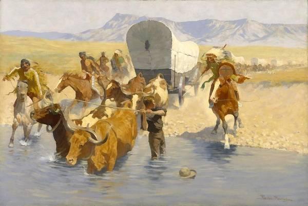 Wagon Digital Art - The Emigrants by Frederic Remington