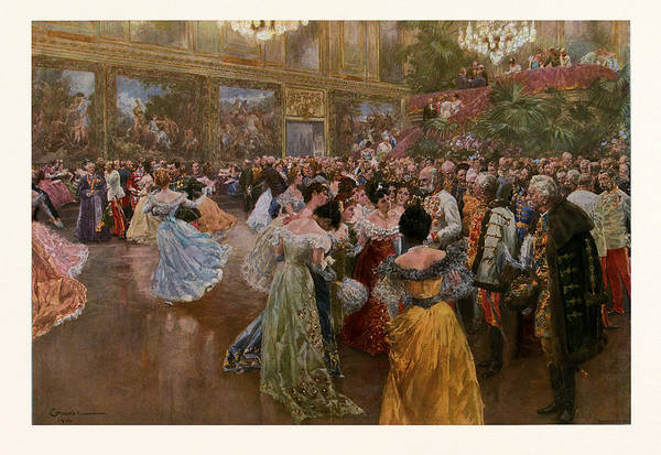 Caucasian Drawing - The Emperor Franz Josef At The Ball In The Redoutensaale by Austrian School