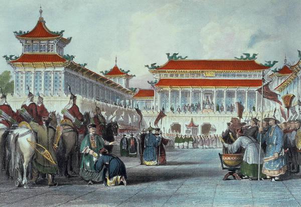 Chinese Drawing - The Emperor Teaon-kwang Reviewing by Thomas Allom