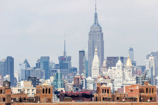 The Empire State Building From The Brooklyn Bridge Art Print