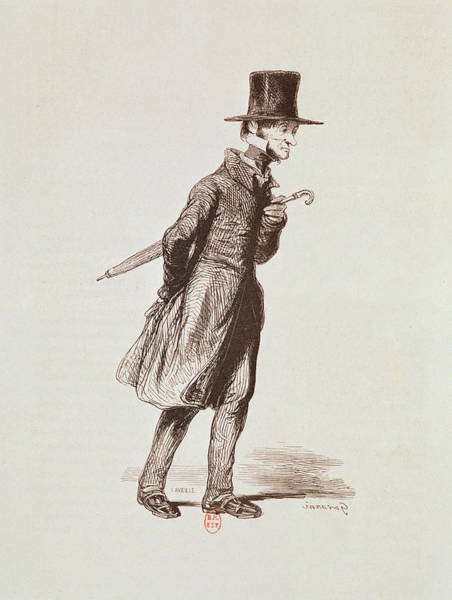 Top Hat Photograph - The Employee, From Les Francais Peints Par Eux-memes, Engraved By Guillaumot, Paris, C.1850 by Paul Gavarni