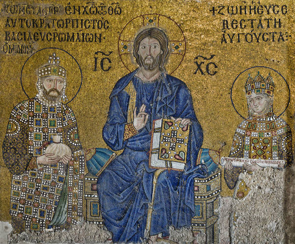 Pantocrator Photograph - The Empress Zoe Mosaics On The Eastern Wall Of The Southern Gallery In Hagia Sophia  by Ayhan Altun