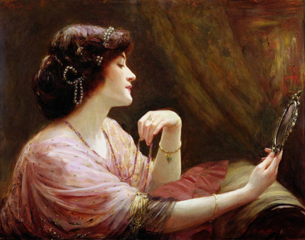 Intimate Portrait Wall Art - Painting - The Enamelled Chain, 1911 by Frank Markham Skipworth