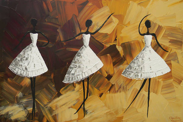 Wall Art - Painting - The Encore - Three Dancers In White by Christine Bell