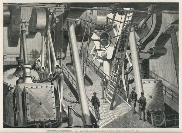 Wall Art - Drawing - The Engine Room Of The  'great Eastern' by Mary Evans Picture Library
