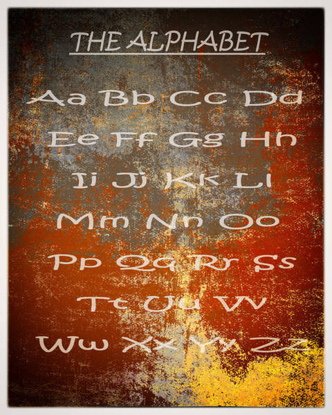 Note Book Painting - The English Alphabet Vintage Texture With White Frame Ready To Print by Eti Reid