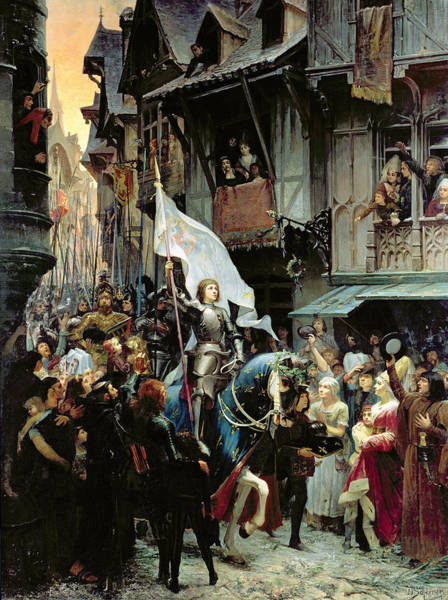 Horseback Wall Art - Painting - The Entrance Of Joan Of Arc Into Orleans by Jean-Jacques Scherrer