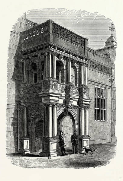 Front Porch Drawing - The Entrance Porch, West Front, Audley End by Litz Collection