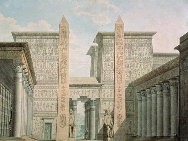 Colonnade Photograph - The Entrance To The Temple, Act I Scene IIi, Set Design For The Magic Flute By Wolfgang Amadeus by German School